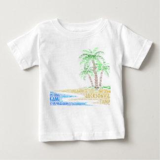 Camiseta Para Bebê Ilha tropical ilustrada com as cidades de Florida