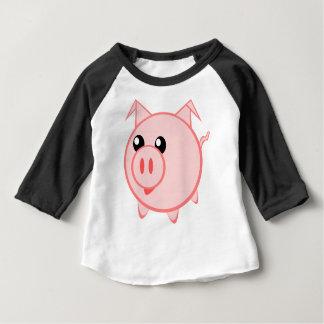 Camiseta Para Bebê Ilustração de um porco dos desenhos animados