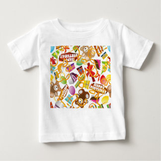 Camiseta Para Bebê Ilustração do teste padrão do feliz aniversario