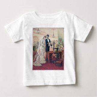 Camiseta Para Bebê Ilustração dos noivos do vintage