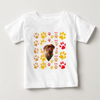 Camiseta Para Bebê Impressão das patas do coração de Dogue de Bordéus