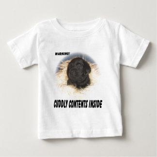 Camiseta Para Bebê Índices pretos do fofinho do filhote de cachorro