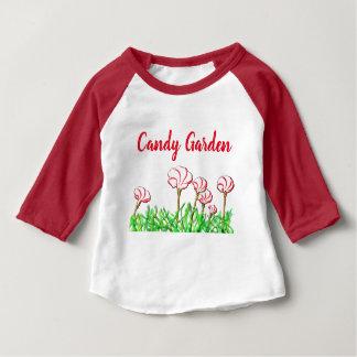 Camiseta Para Bebê Jardim da azeda do bastão de doces