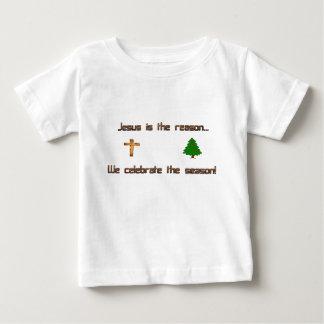 Camiseta Para Bebê Jesus é a razão que nós comemoramos a estação