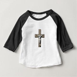 Camiseta Para Bebê Jesuschrist em uma escultura transversal