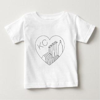 Camiseta Para Bebê Kansas City - linha minimalista coração da skyline
