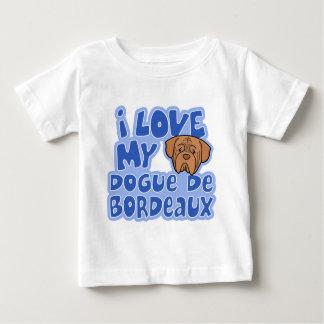 Camiseta Para Bebê Kawaii eu amo meu Dogue de Bordéus Bebê