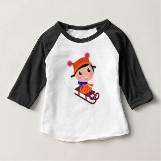 Camiseta Para Bebê Laranja da menina do patinagem no gelo