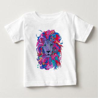 Camiseta Para Bebê Leão psicadélico roxo