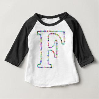 Camiseta Para Bebê Letra F da estrela do arco-íris