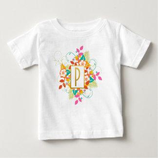 Camiseta Para Bebê Letra inicial P do ouro com flores coloridas