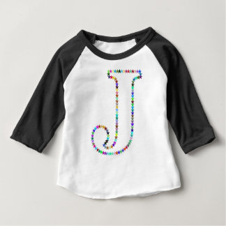 Camiseta Para Bebê Letra J da estrela do arco-íris