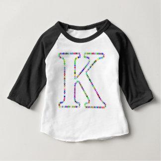 Camiseta Para Bebê Letra K da estrela do arco-íris