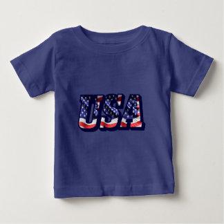 Camiseta Para Bebê Letras da bandeira dos EUA, t-shirt do jérsei da