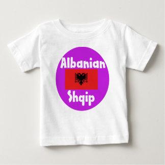 Camiseta Para Bebê Língua de Albânia e design da bandeira