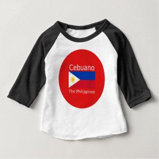 Camiseta Para Bebê Língua de Cebuano e bandeira de Filipinas