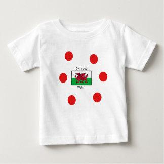 Camiseta Para Bebê Língua de Galês e design da bandeira de Wales