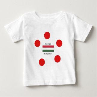 Camiseta Para Bebê Língua de Hungria e design da bandeira