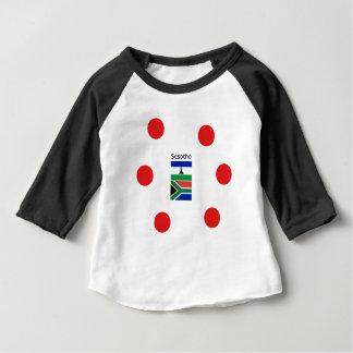 Camiseta Para Bebê Língua de Sesotho e bandeiras de Lesotho/África do