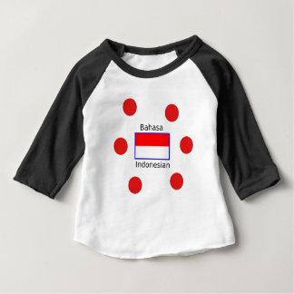 Camiseta Para Bebê Língua do Bahasa e design da bandeira do indonésio