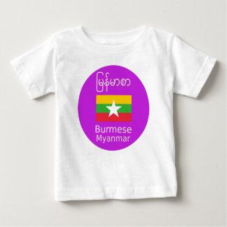 Camiseta Para Bebê Língua do birmanês/Myanmar e design da bandeira