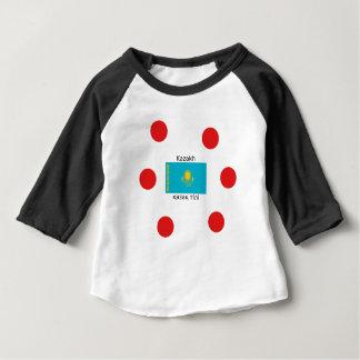 Camiseta Para Bebê Língua do Cazaque e design da bandeira de