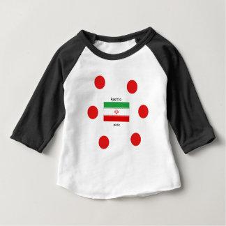 Camiseta Para Bebê Língua do Pashto e design da bandeira de Irã