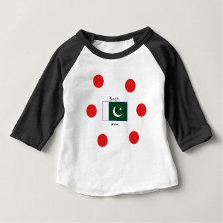 Camiseta Para Bebê Língua do sindhi e design da bandeira de Paquistão