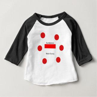 Camiseta Para Bebê Língua do Sundanese e design da bandeira de