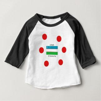 Camiseta Para Bebê Língua do Uzbeque e design da bandeira de