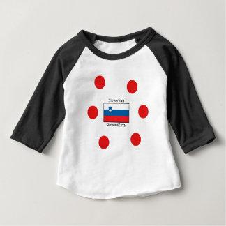 Camiseta Para Bebê Língua e design eslovenos da bandeira de Slovenia