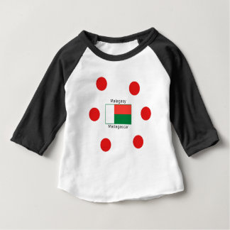 Camiseta Para Bebê Língua e design malgaxes da bandeira de Madagascar