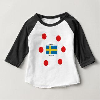 Camiseta Para Bebê Língua sueco (Svenska) e design da bandeira da