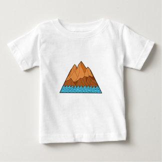 Camiseta Para Bebê Linha áspera das ondas de montanha mono