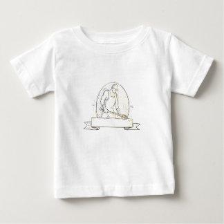 Camiseta Para Bebê Linha de aço de Miono da concha do trabalhador da