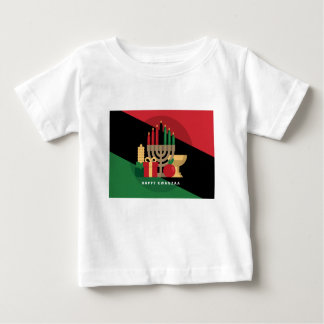 Camiseta Para Bebê listra diagonal Kwanzaa feliz
