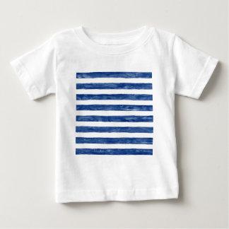 Camiseta Para Bebê Listras azuis náuticas que pintam a arte