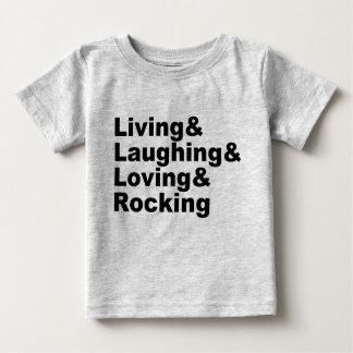 Camiseta Para Bebê Living&Laughing&Loving&ROCKING (preto)