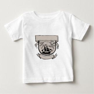 Camiseta Para Bebê Lobo que funciona sobre a crista Scratchboard do