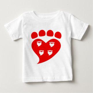 Camiseta Para Bebê Logotipo T do coração de Pawprints