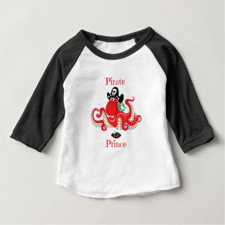 Camiseta Para Bebê Luva do príncipe Bebê 3/4 do pirata do polvo