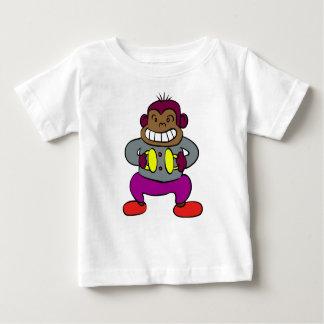 Camiseta Para Bebê Macaco retro com brinquedo dos pratos