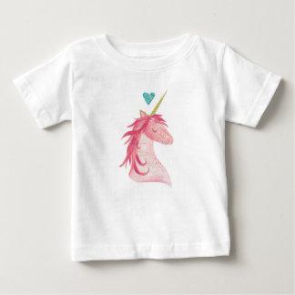 Camiseta Para Bebê Mágica cor-de-rosa do unicórnio com coração