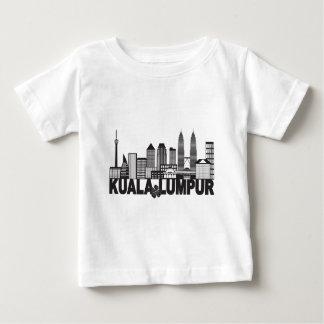 Camiseta Para Bebê Mal preto e branco do texto da skyline da cidade