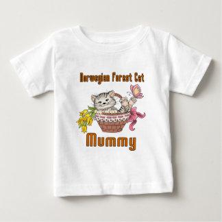 Camiseta Para Bebê Mamã norueguesa do gato do gato da floresta