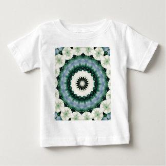 Camiseta Para Bebê Mandala da flor branca e do azul Cerulean