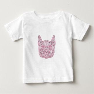 Camiseta Para Bebê Mandala da parte dianteira da cabeça do buldogue