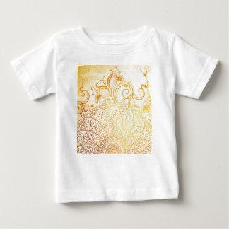 Camiseta Para Bebê Mandala - escova dourada