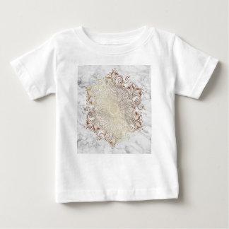 Camiseta Para Bebê Mandala - ouro & mármore