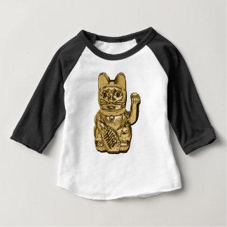 Camiseta Para Bebê Maneki dourado Neko